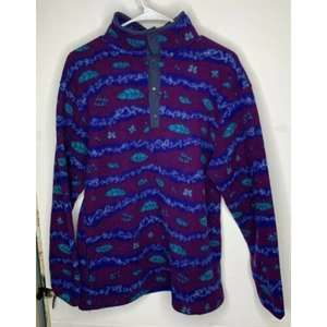 Vtg Ll Bean Womens Fleece T Snap Pullover M/L